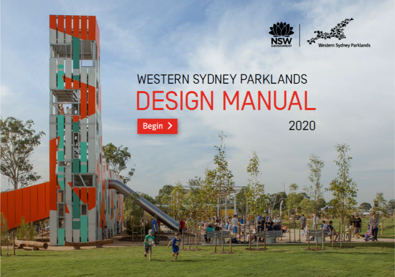 Cover page of the Western Sydney Parklands Design Manual 2020 showing Bungarribee playground