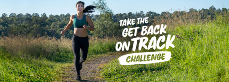 Image of girl runner on gravel path in Western Sydney Parklands with Take the Get Back on Track Challenge logo