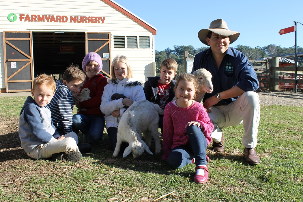 kids with the animal farm nursery