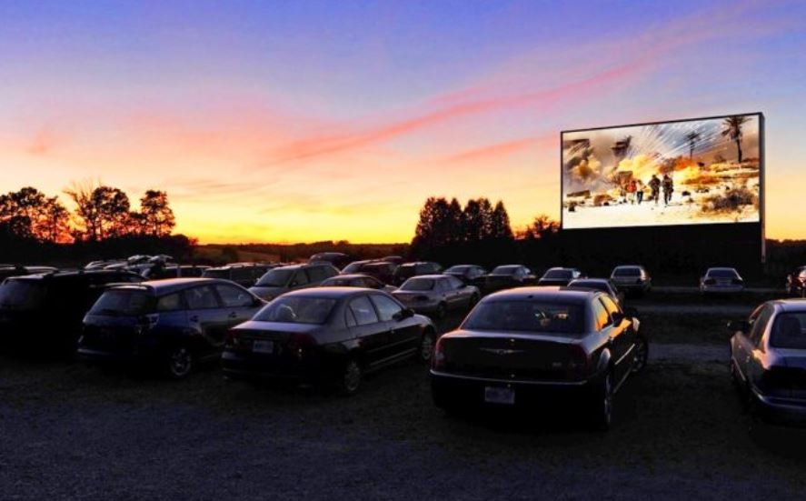 Drive in cinema with a sunset view