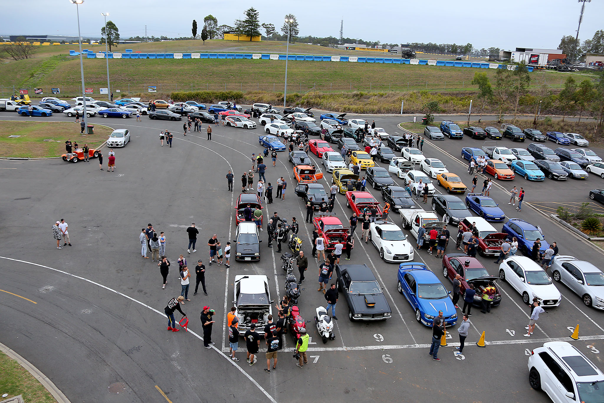 Sydney Dragway track aerial view of people and cars