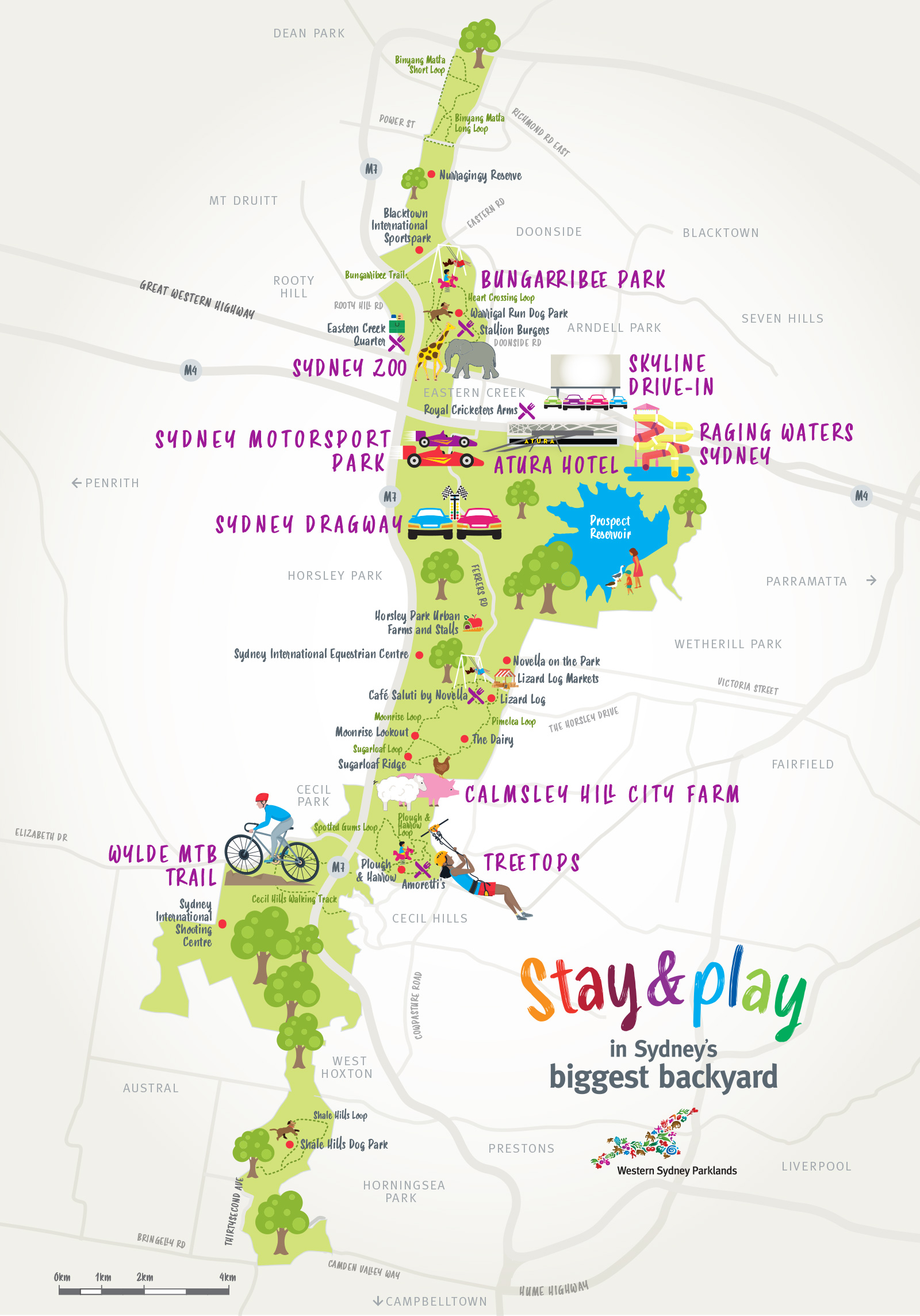 Sydney Biggest Backyard attractions and tourist map - stay and play campaign
